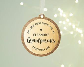 Grandparents First Christmas Keepsake Wooden Bauble