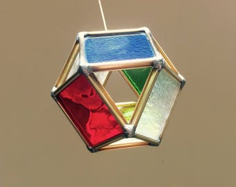 Stained glass cube octahedron terra prana sscred geometry suncatcher yoga decor