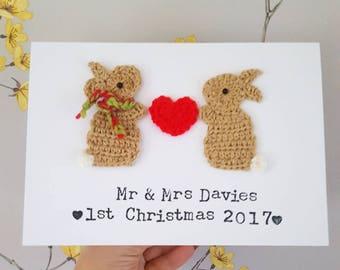 Personalised Christmas Card, Christmas Bunny Card, Couples Christmas Card, Husband Christmas Card, Wife Christmas Card, Mum/Dad Christmas