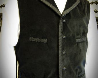Cotton Velvet Braided Waistcoat Victorian Steampunk Goth Dr Who OBSIDIAN NEW