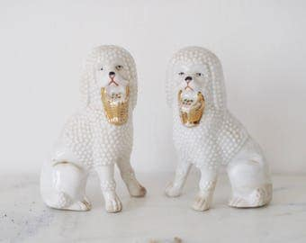 Vintage Porcelain German Poodle Figurines Ceramic White Dog Ornaments