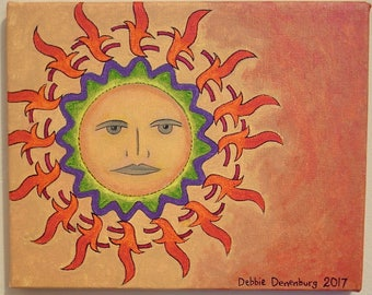"FREE SHIPPING! Boho Sun one of a kind original art painting 8"" x 10"""