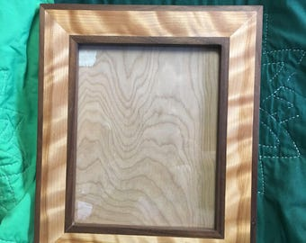 Black walnut and curly birch picture frame