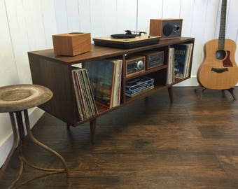Mid Century Modern Stereo/turntable Console, Record Player Cabinet, Solid  Black Walnut With