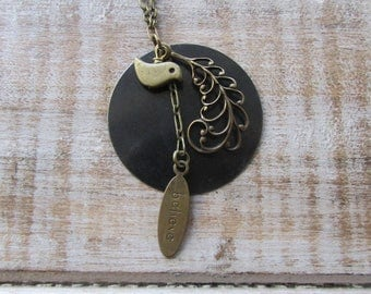 Romantic necklace with filigree feather BILIEVE