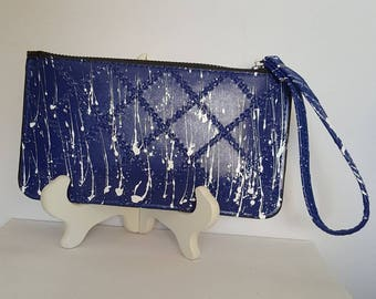 Royal Blue and White Wristlet