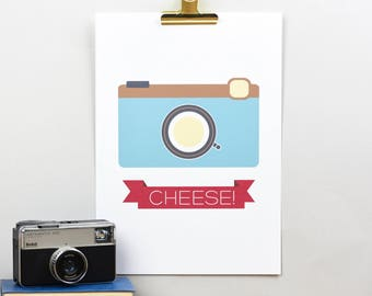 Cheese blue camera giclee print