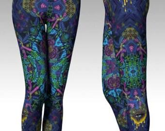 Inflorescence - wearable art, Artist Leggings, yoga leggings, digital print leggings, boho leggings, art leggings, sublimation leggings