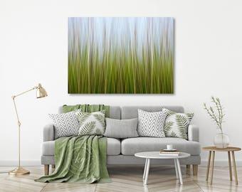 Large Abstract Wall Art, Coastal Marsh Grass Photo, Canvas Gallery Wrap, Nature Art, Nautical Decor, Lime Green Blue Yellow, Beach Interior