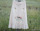 Boho Skirt Women's Linen Funky Embellished Drawstring Waist Skirt Size Small Unique OOAK Clothing by Reloved Clothing Co