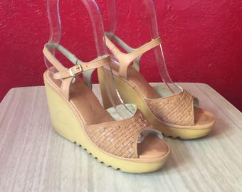 Vintage Cherokee Wedges ~ Strappy Leather Sandals, 7