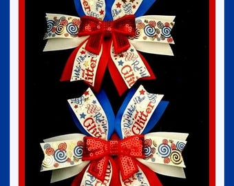 Patriotic Bows...Patriotic Pig Tail Bows....4th of July bows....July 4th Bows...Pigtail Bows....Pigtail bow set...Pony tail bow set