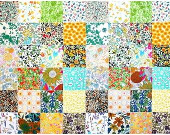 "Liberty of London 2 of each design 48 Mini 2.5"" Charm Square Pack yellow gold green mint Patchwork Quilting Cotton Tana Lawn Fabric"