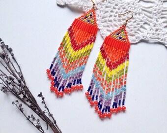 native american beaded earrings  ethnic earring   tribal earrings   bead earring   boho earring   fringe earrings   beadwork jewelry