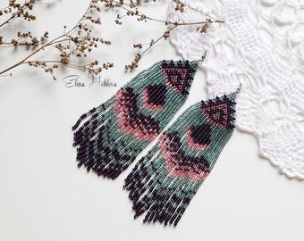 Beadwork, multistrand earrings, fringe beadweaving, forest, pine, pine forest, wind, magical, nature, natural, green