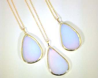 10% off SALE Teardrop Opalite Necklace Opalite Necklace  Gemstone Necklace Opal Necklace Crystal Necklace Gold Edged Iridescent Necklace