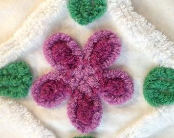 "Purple Flowers Vintage Chenille Bedspread Fabric...19 x 21"""