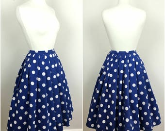 Vintage 1950s Swing Skirt - 50s Blue Cotton Barkcloth Polka Dot Skirt - 1950s Circle Skirt - Rockabilly - XS Small - UK 6 / US 2 / EU34 -