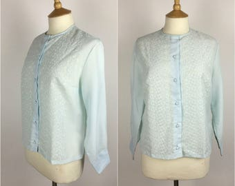 Vintage 1950s Blouse - 50s Blue Embroidered Top - Long Sleeved - UK 14-16 / US 10-12 / EU 42-44 - Medium / Large -