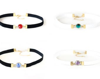 ODELL - Red, Green, Blue, or Purple Vintage Lucite Charm and Stretchy Black or White Velvet Choker