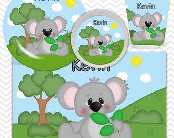 Koala Plate, Bowl, Cup, Placemat - Personalized Zoo Dinnerware for Kids - Custom Tableware