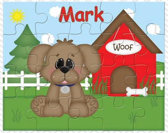 Dog House Red Personalized Puzzle, Personalized Dog Puzzle, Personalized Kids Puzzle