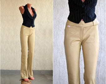 Vintage MISS SIXTY Leather Pants W 28-29 L 34 Faux Brown Trousers High Waist Casual Wear
