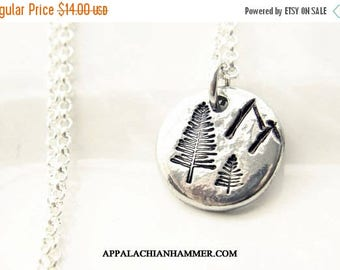 WEEKEND SALE Mountain Forest Hand Stamped Pewter Drop Pendant Necklace, Rustic, Hand Poured