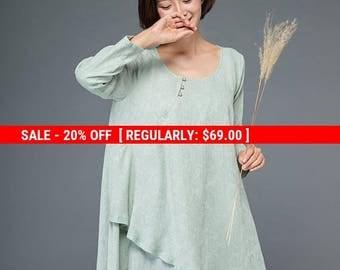 Tunic dress, mini dress, Layered dress, green dress, print dress, irregular dress, loose dress, flare dress, cute dress, linen dress  C1155