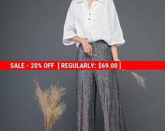 Block pants, pants, linen pants, loose pants, wide leg pants, gray pants, womens pants, long trousers, pleated pants, palazzo pants C1152