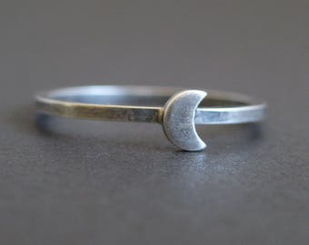 Custom silver moon ring - personalized sterling silver moon ring - moon slice ring - lunar ring - lunar jewelry - silver moon ring - eclipse