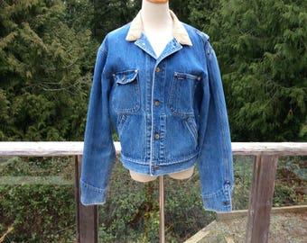 Vintage Polo Ralph Lauren Denim Jacket, Polo Jacket with Corduroy Collar, Size Medium, 1990s