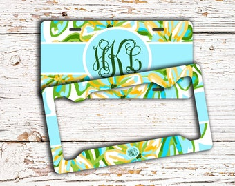 Personalized floral license plate or frame, Monogram seat belt cover, Turquoise keychain, Pretty bike license plate for girls  (1638)
