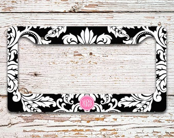 Pretty vanity license plate frame or cover, Black white damask hot pink initials, Monogrammed custom car tag, Unique bride gift (9759)