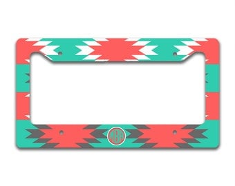 Aztec license plate cover, Turquoise white coral, Tribal car tag cover, Personalized gifts for her, Sweet 16 present, First car gift (1259)