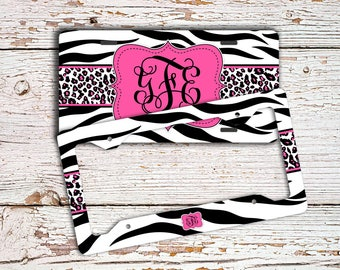 Cute girly license plate or frame, Monogram front car tag, Car accessories for girls, Pretty bike license plate, Pink black zebra  (1431)