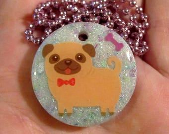 Pug Necklace-Pug Dog Jewelry-Handmade Resin Pendant Jewelry