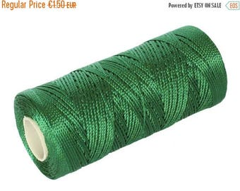 ON SALE 15 Meters Macrame Cord - Jewelry Thread - Nylon Cord 0.8mm Not Waxed - Green