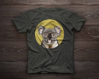 Koala t-shirt, Koala T-Shirt, Animal Tshirt, Animal Tshirts, koala bear, australia, animal, glasses, gift, farm pet, farm animal, pet