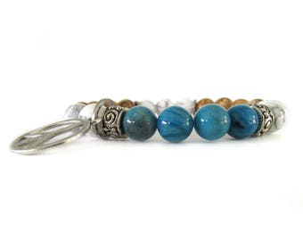 Women's Beaded Stretch Charm Bracelet - Women's Jewelry - Beach Bracelet - Charm Bracelet - Gemstone Bracelet - Peace Charm Bracelet - W2803