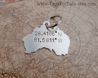 Australia Country Key Chain with GPS Coordinates and hearts or Stars-  Handmade - customized