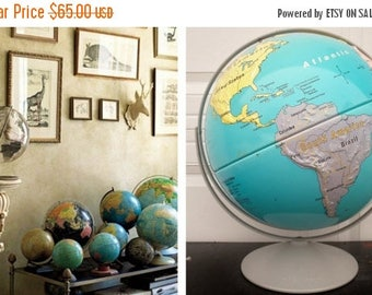 """ON SALE Vintage, Nystrom, 16"""", First Globe, World Globe, Large, School, Classroom, World, Globe, Collectibles, Mid Century, Blue, Grey, Map"""