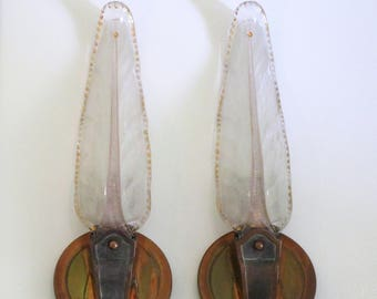 Art Deco Pair Light Sconces-1930s French Pair Wall Lights-Heavy Molded Murano Glass-Copper & Metal holders-The Epitome of Elegance and Style