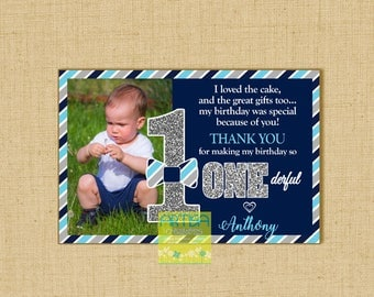 Mr Onederful Thank you note card, Mr Onederful thank you card, 1st Birthday Boy thank you card, Mr Onederful thank you, 1st birthday thank y