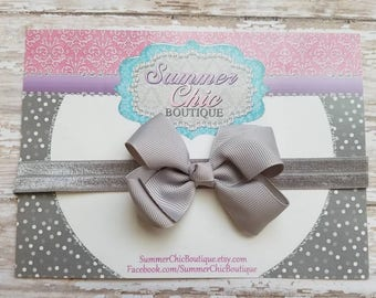 Gray Headband, Baby Headband, Bow Headband, Baby Headbands, Infant Headband, Newborn Headbands, Gray Bow, Gray Baby Headband