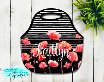 Personalized Lunch Tote - Red Floral Design - Monogrammed Tote - Lunch Box - Zippered Lunch Tote - Insulated Lunch Tote - Black & White