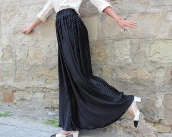 SALE ON 20 % OFF Black Pleated Skirt / Maxi Skirt / Long Skirt / Plus size Black Skirt / Satin Skirt