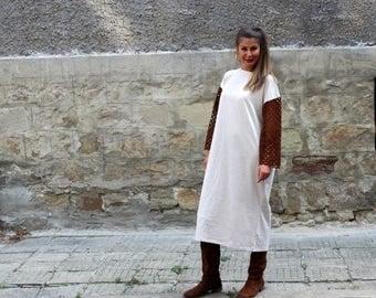 ON 25 % OFF Beige maxi dress/ Midi dress/ Long sleeve dress/ Fall dress