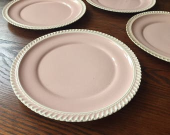 Set of 4 vintage Harkerware pink dinner plates with scalloped edge