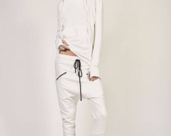 NEW Loose Casual  Off White  Drop Crotch Harem Pants / Extravagant Navy Pants / Side zipper pockets / Unique Pants by AAKASHA A05313